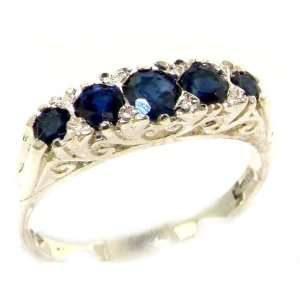 Luxury Solid White Gold Natural Deep Blue Sapphire Victorian Style