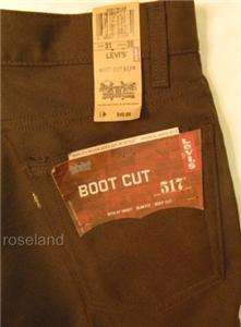 Levis Tex Twill 517 Boot Cut Dress Jeans Size 31 x 36 Mens Chocolate