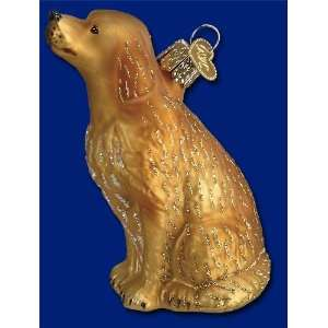 Old World Christmas ornament sitting golden retriever dog Home