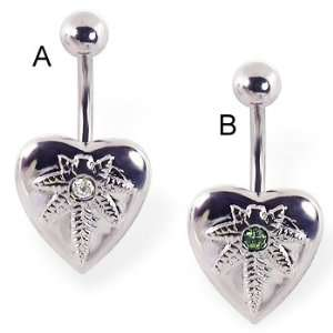 Heart belly ring with pot leaf logo and gem, clear   A Jewelry