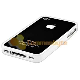 Bumper White Shinny TPU Rubber Gel Case Cover+PRIVACY Protector for