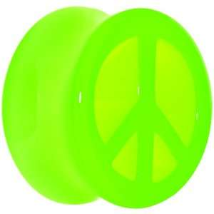 18mm Acrylic Neon Green Peace Sign Tunnel Plug Jewelry