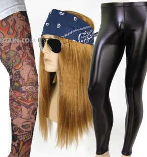 DELUXE Heavy Metal Rocker AXL ROSE Guns N Roses WIG Pants Tattoo