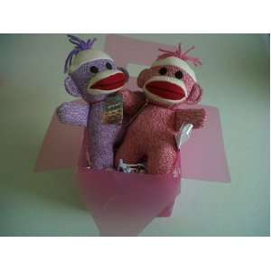 Pink and Purple Baby Sock Monkey Duo with Pink Gift Box