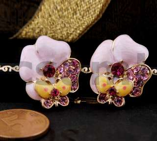 E26 Flower Earrings   Pink BEST GIFT