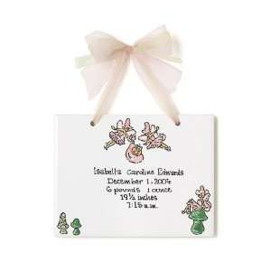 Birth Certificate Hand Painted Tile   Fairies Toys