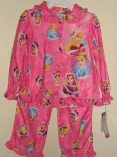Toddler Girls Disney Princess Flannel Pajamas PJs Pink 3T New