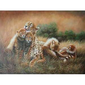 12X16 inch Animal Canvas Art Repro African Cheetah Family