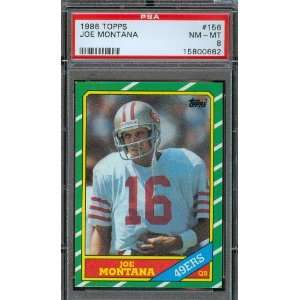 1986 Topps #156 Joe Montana San Francisco 49ers PSA 8 NM