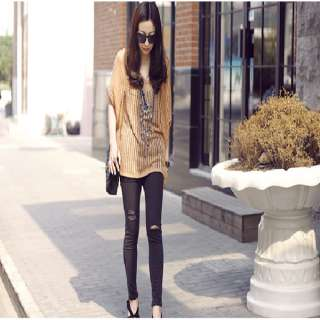 New Fashion Korean Women Round Neck Long Sleeve Knit Sweater Top Brown