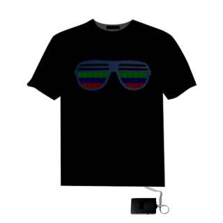 Sound Activated Hip Hop Glasses Pattern EL LED T Shirt
