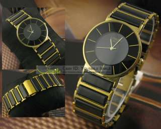 LONGBO Luxury Golden & Black Mens Ceramic STAINLESS STEEL Quartz