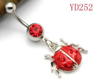 Red Rhinestone Crystal Ladybug Navel Belly Ring YD252
