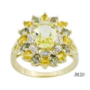 NATURAL GREEN & YELLOW SAPPHIRE, LEMON QUARTZ & DIAMOND RING