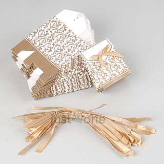 50x Gold Ribbon Wedding Favor Candy Gift Box Case Bag