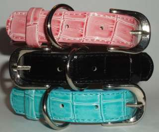 NEW BEAUTIFUL FAUX CROCODILE LEATHER DOG COLLAR