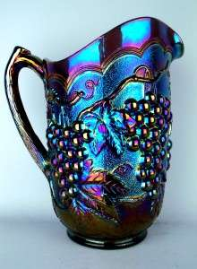 IMPERIAL GRAPE ~ *ANTIQUE* ELECTRIC PURPLE CARNIVAL GLASS PITCHER