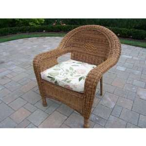 Wicker Indoor / Outdoor Arm Chair with Cushion Furniture & Decor