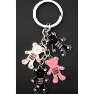 Teddy Bear Rhinestone Keychain Automotive
