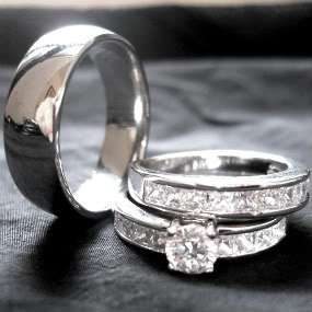 pieces mens & womens TITANIUM and STAINLESS STEEL engagement wedding