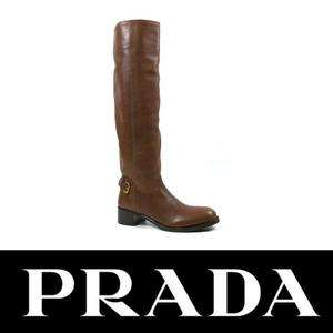 Prada women knee high boots in brown leather Size US 6   IT 36