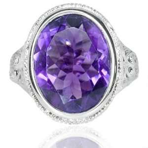 HUGE 7.5CT AMETHYST ANTIQUE ART DECO VINTAGE RETRO RING Jewelry