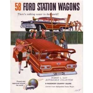 1958 FORD STATION WAGON Sales Folder Literature Piece