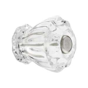 Small Fluted Clear Glass Cabinet Knob With Nickel Bolt