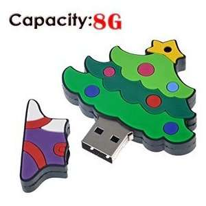 8G Rubber USB Flash Drive with Christmas Tree Shape (Small