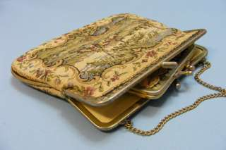 Collectable STEINER Vtg Antique French Style Art Gobelin Purse Bag Set