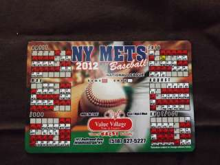 2012 NEW YORK METS BASEBALL MAGNET SCHEDULE