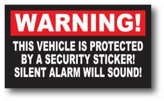 Warning Sticker Decal Security Silent Alarm Sound Car