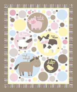 Animal Talk Baby Horse Cow Pig Chick YARD Panel Fabric