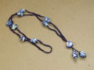 Deco Braided Cobalt Glass Seed Bead & Foil Art Glass Lavalier Necklace
