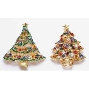 Club Pack of 24 Multi Colored Christmas Tree Jewelry Pins