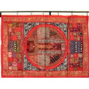 Red Indian Sari Tapestry Wall Hanging Decor Art Textile