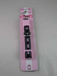 LULU PINK BOWS & DOTS NYLON DOG COLLAR BLACK W PINK