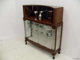 Art Deco Walnut Drinks Cabinet /Bar / China Cabinet C1940s