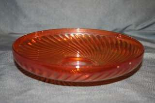 Marigold Carnival Glass Shallow Bowl Swirl Design