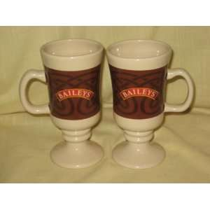 Set of 2  Baileys Irish Cream Footed Porcelain Coffee Mugs