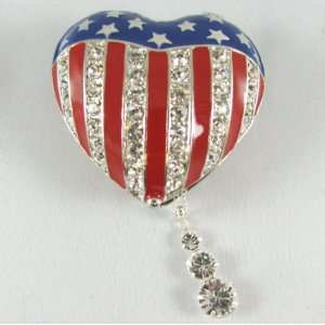 USA American Flag Heart Box with Swarovski Crystals & 16 Swarovski