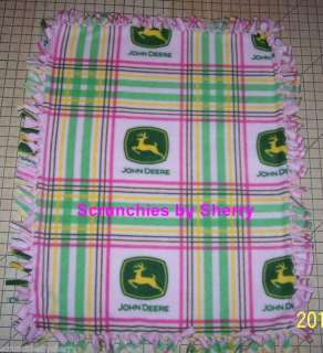 John Deere Pink Green Plaid Fleece Baby Pet Blanket