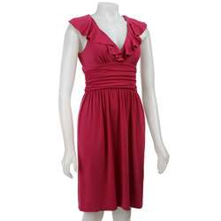 London Times Womens Sleeveless Ruffle Dress