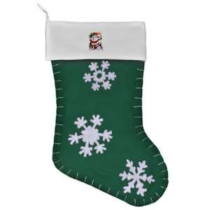 Christmas Stocking Green Merry Christmas Santa Claus Skiing Ho Ho Ho