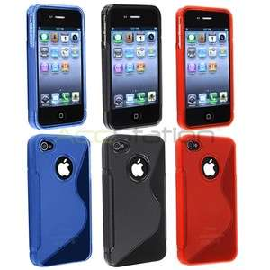 3x S Shape TPU Rubber Gel Soft Cover Case For iPhone 4 G 4S Clear Red