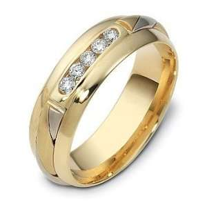 Designer 18 Karat Two Tone Gold Channel Set Diamond Wedding Band Ring