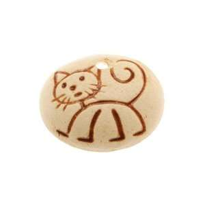 Golem Design Studio Matte Ceramic Oval Pendant Stick Figure Cat 23