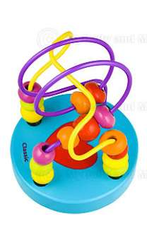 Small Wire Bead Maze Childrens Wooden Toy Baby Gift Blu