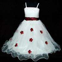 NT R408 Reds White Wedding Party Girls Flower Pageant Dress SIZE 3 4T