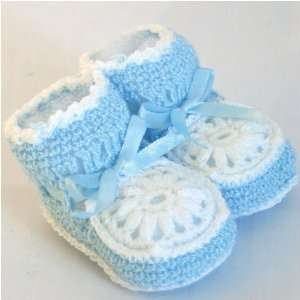 Baby Booties Crocheted Boy Blue/white